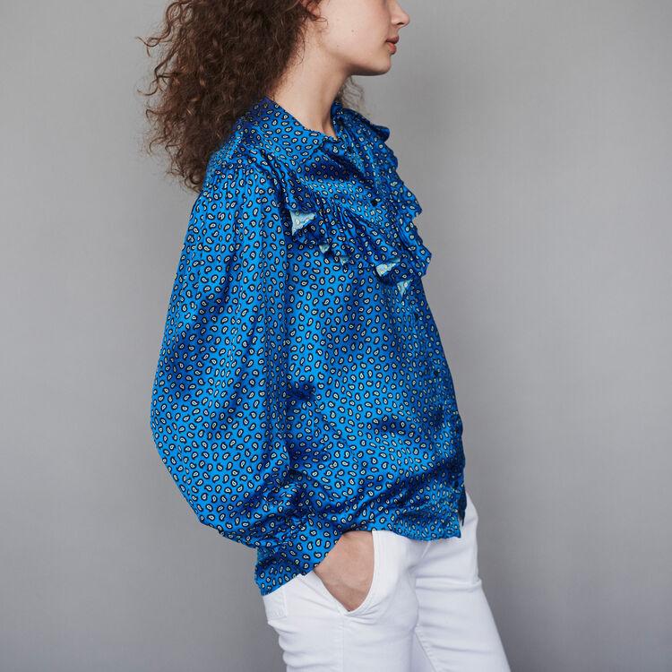 Blusa de raso estampada con volantes : Tops y Camisas color Azul