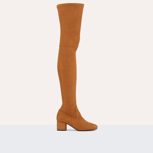 Bota alta mosquetero plana ante becerro : Zapatos color Negro