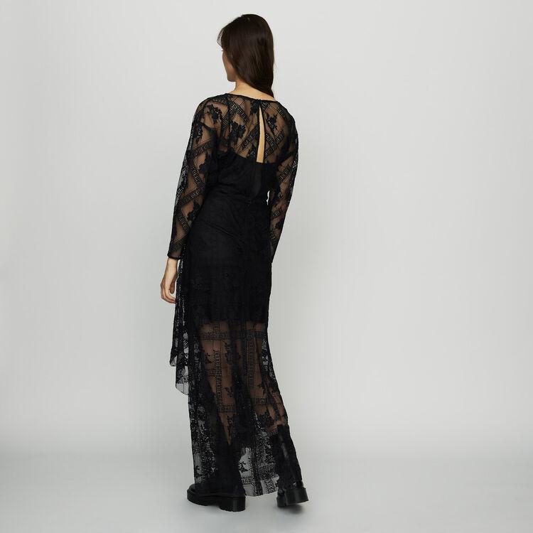 Vestido bufanda con mangas largas : Vestidos color Negro