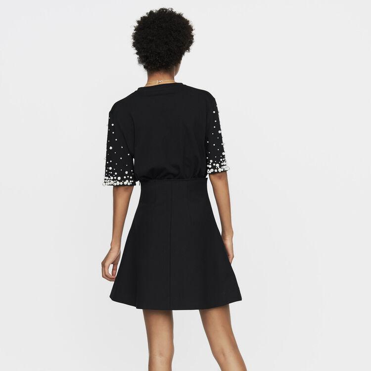 Falda corta con juegos de pliegues : Faldas y shorts color Negro