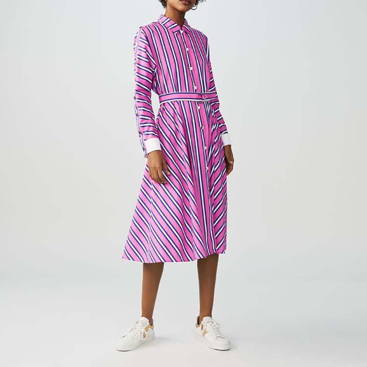 Vestido camisero largo de rayas : Vestidos color Rayas