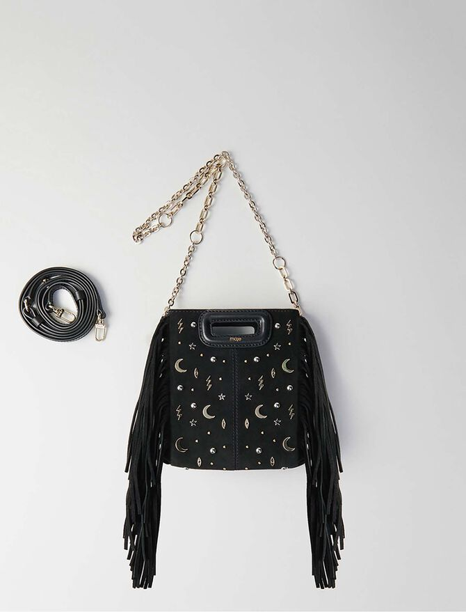 Mini studded suede M bag with chain -  - MAJE