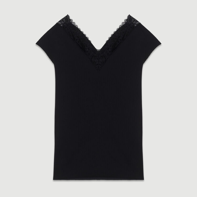 Top plisado con encaje : Tops color Negro