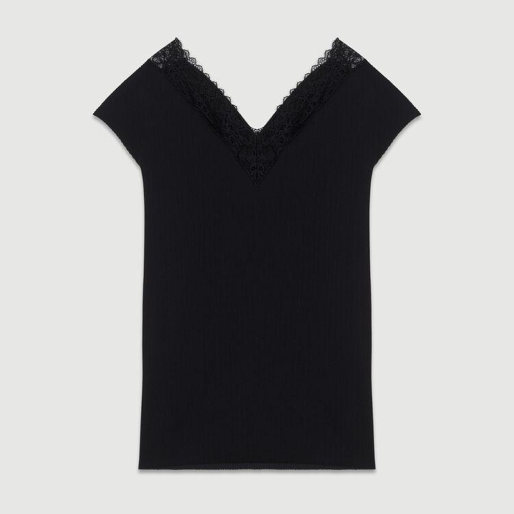 Top plisado con encaje : SoldesUK-All color Negro