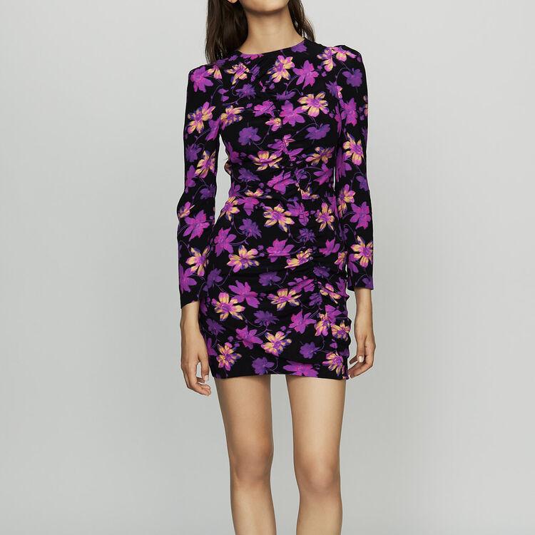 Vestido drapeado estampado floral : Vestidos color Estampado