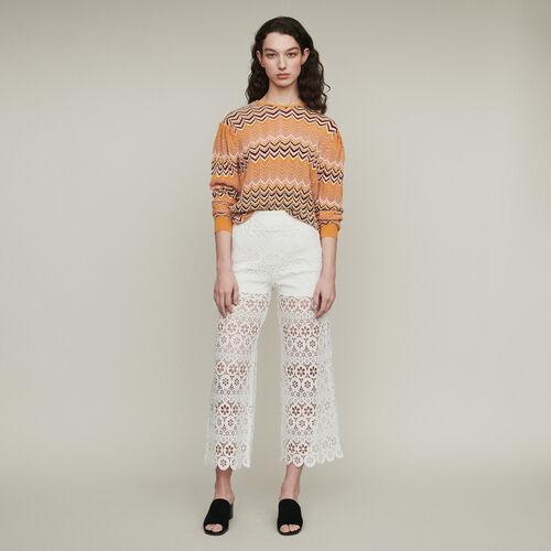 Weite Caprihose mit Guipure Margeriten : Pantalones color Blanco