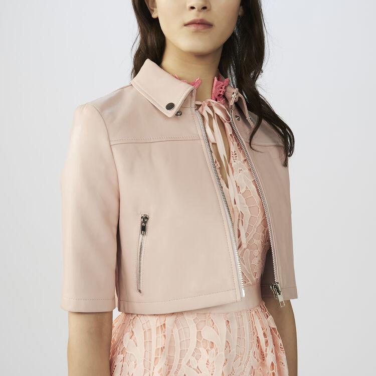 Cazadora mini de cuero : Cazadoras color Rosa