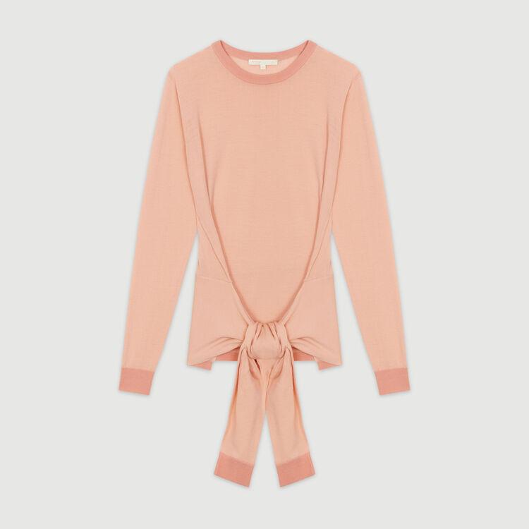 Jersey fino con lazo para anudar : Jerseys y cárdigans color Coral