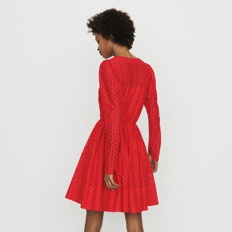 Vestido de guipur geométrico : Vestidos color Rojo