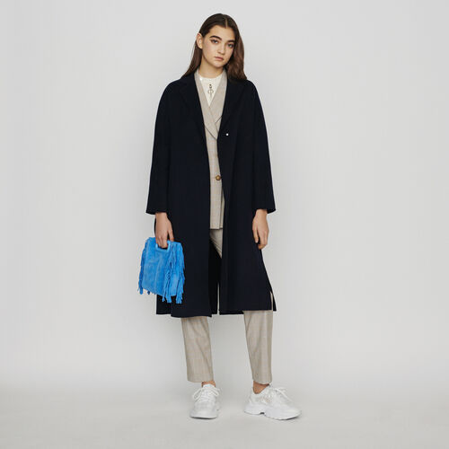 Abrigo ceñido de lana doble faz : Abrigos y Cazadoras color Azul Marino