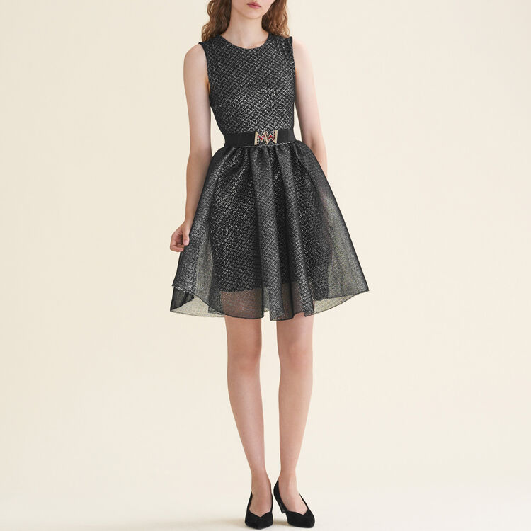 Vestido sin mangas de tul y lúrex : Vestidos color Plateado