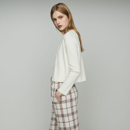 Cardigan corto en algodón mezclado : Malla color ECRU