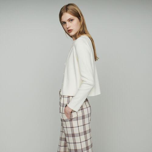 Cardigan corto en algodón mezclado : Jerseys y cárdigans color ECRU