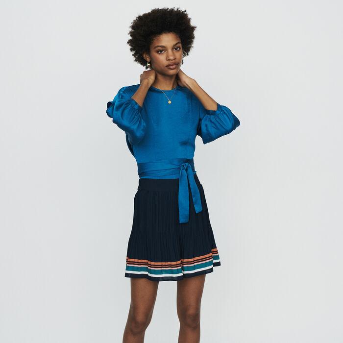 Short plisado de rayas : Faldas y shorts color Azul Marino