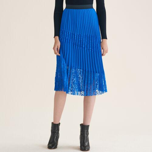 Falda plisada con encaje : Faldas y shorts color Azul