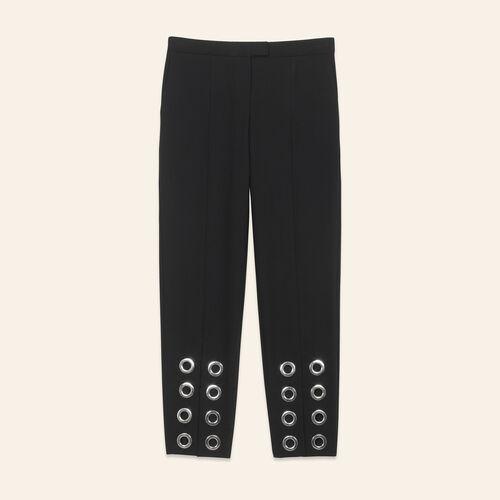 Pantalón recto con ojales de crepé - Pantalones - MAJE