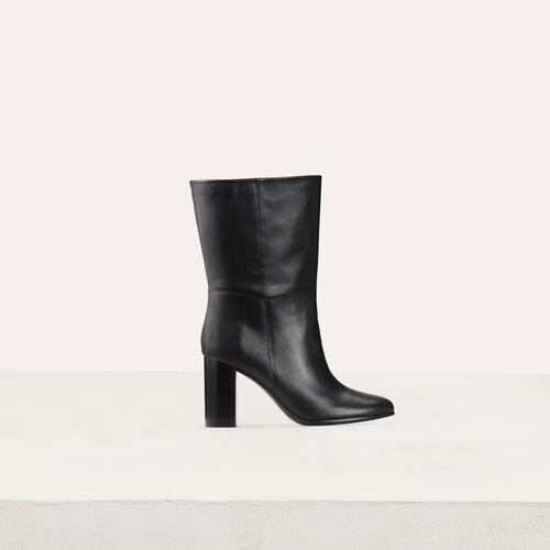 Botines de cuero con tacón : Nueva colección color Negro