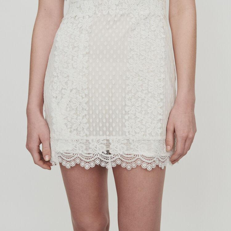 Vestido corto en encaje : Vestidos color Blanco