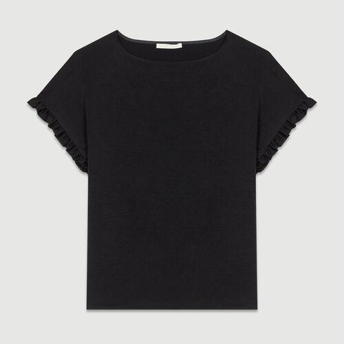 Camiseta loose con mangas de volantes : T-Shirts color Negro