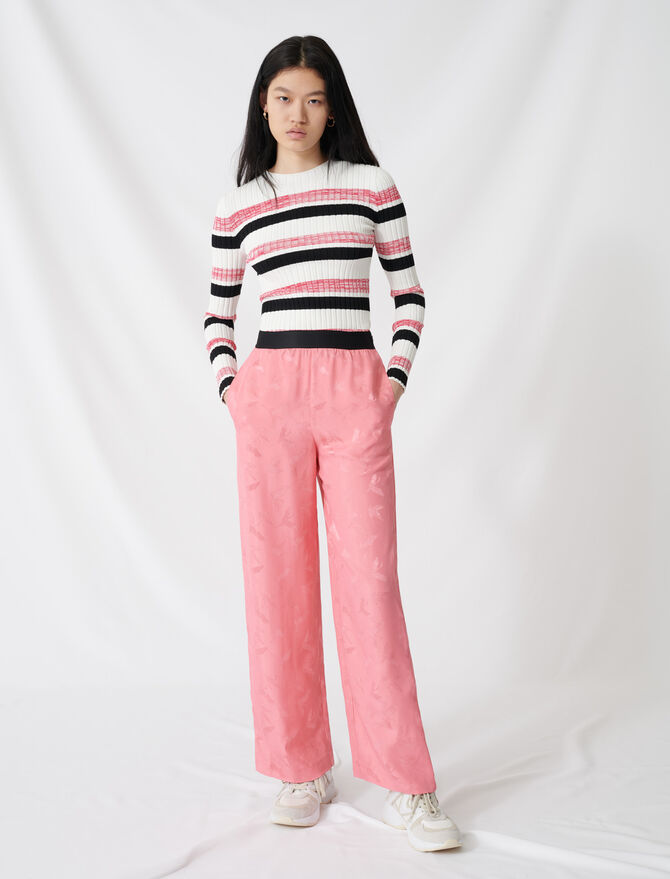 Pantalón pata elefante jacquard satinado - Pantalones y Jeans - MAJE