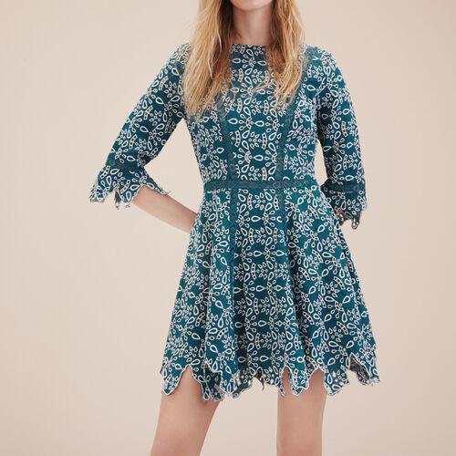Vestido corto de guipur : Vestidos color Azul