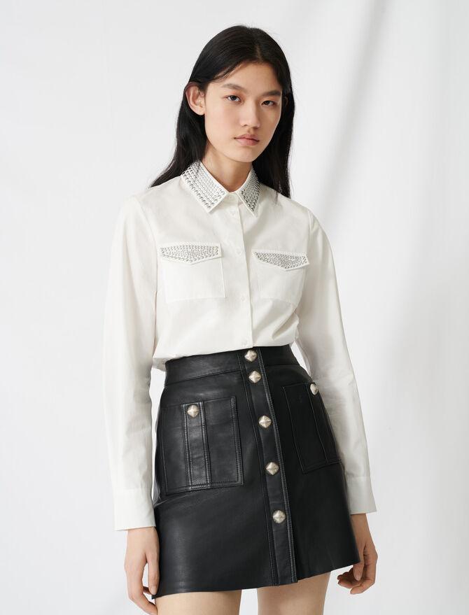 Camisa de popelina con tachuelas - Tops y Camisas - MAJE