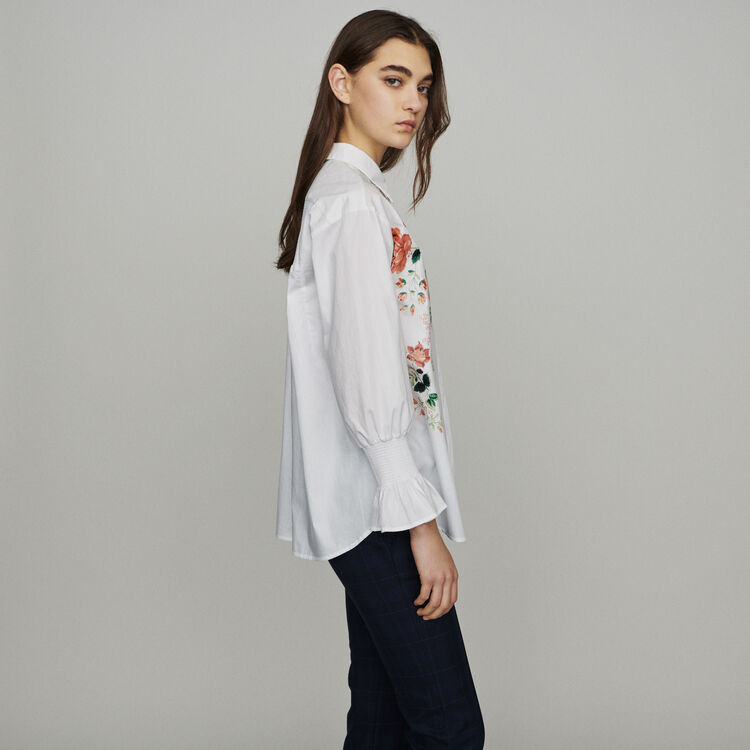 Blusa con estampado floral : Tops y Camisas color Blanco
