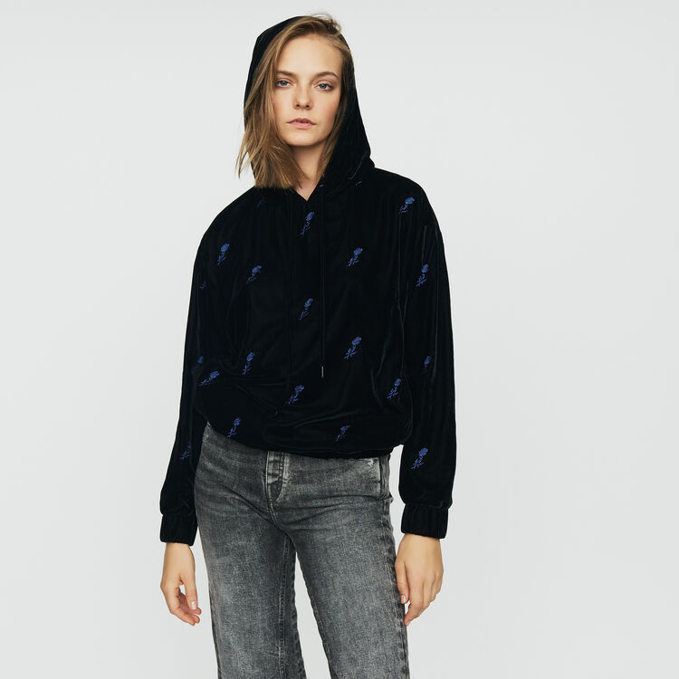 Sudadera con capucha de terciopelo : Sudareras color Negro