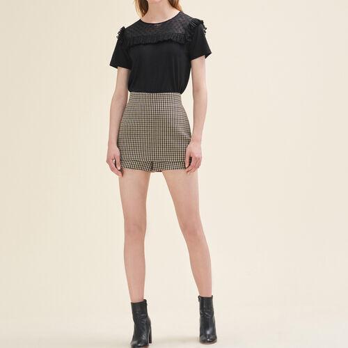 Short corto a cuadros : Faldas y shorts color Jacquard