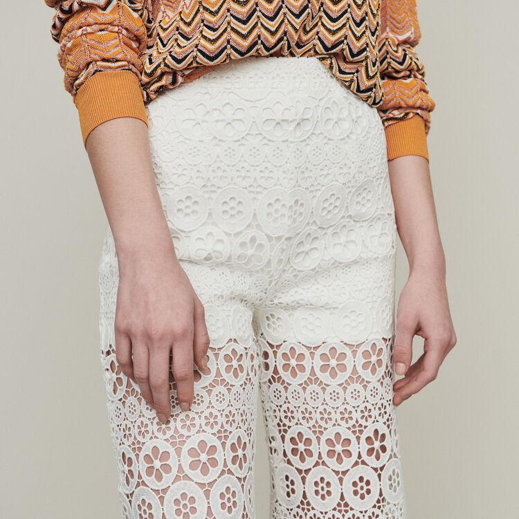 Weite Caprihose mit Guipure Margeriten : Pantalones y Jeans color Blanco