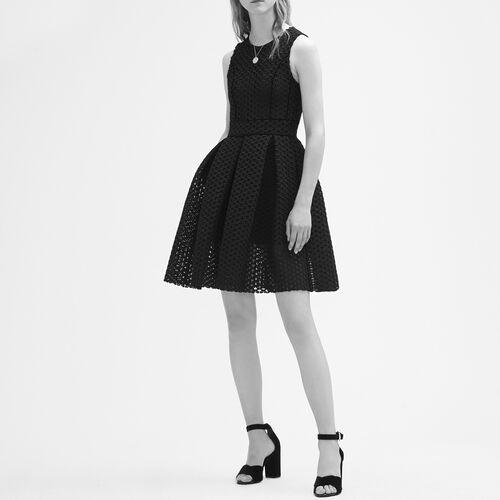 Ärmelloses Kleid aus technischem Strick : Vestidos color Negro