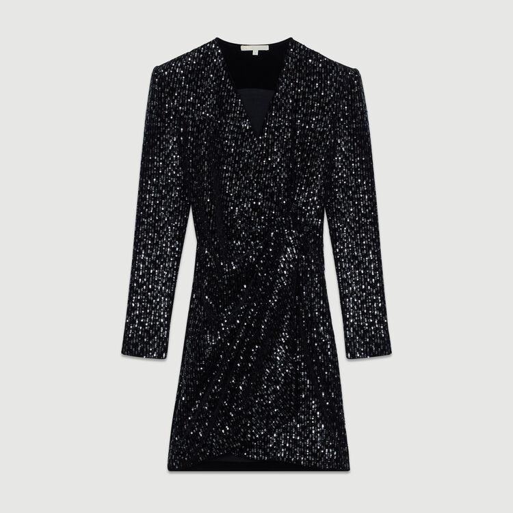 Vestido cruzado de terciopelo bordado : Vestidos color Negro