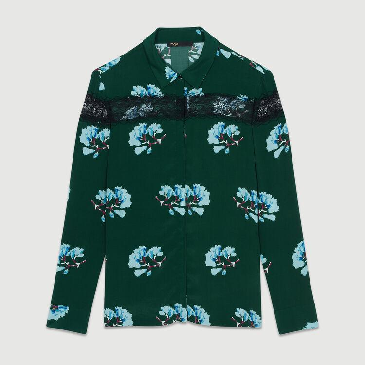 Camisa estampada con encaje : Camisas color Estampado