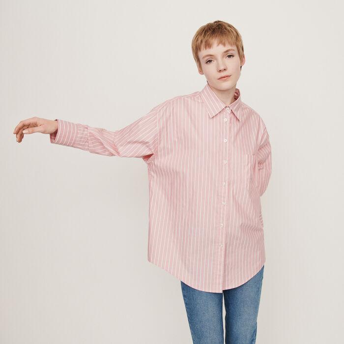 Blusa oversize rayada : Tops y Camisas color Rosa
