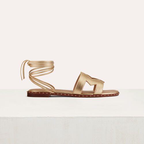 Flat leather sandals : Zapatos planos color Dorado