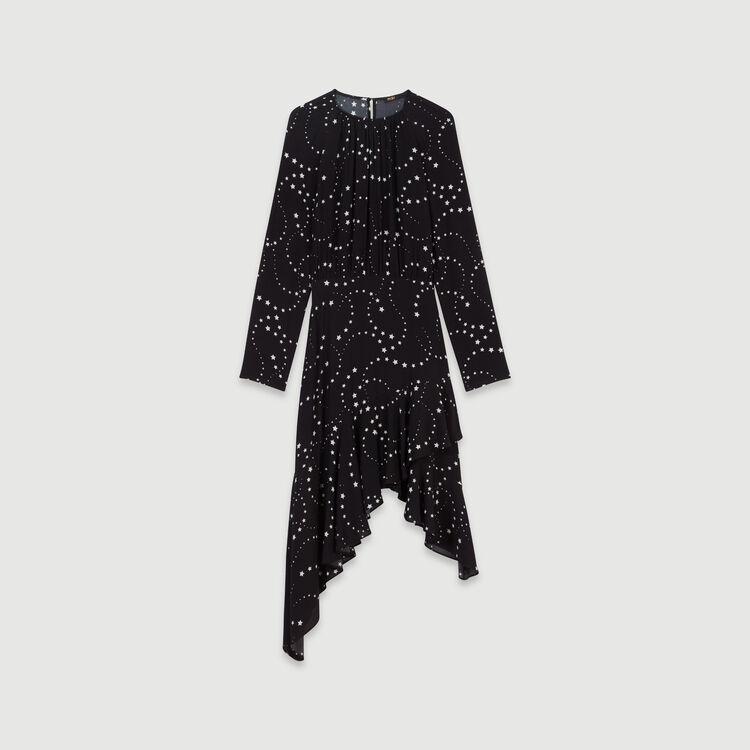 Vestido asimétrico estampado en crepé : Vestidos color Negro