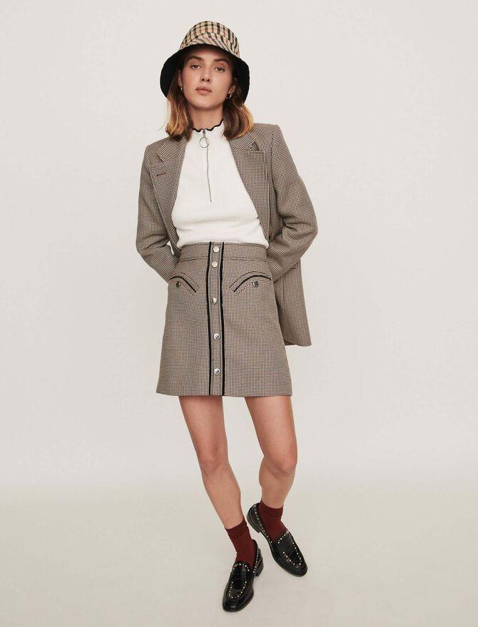 Falda de cuadros recta - Faldas y shorts - MAJE