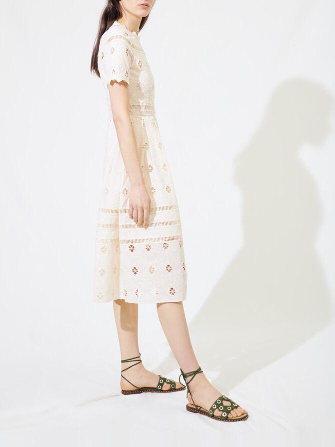 Vestido largo de guipur ribeteado - Vestidos - MAJE