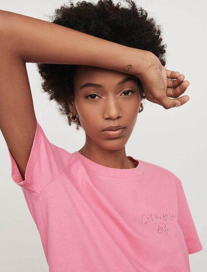 Camiseta bordada mangas cortas - T-Shirts - MAJE