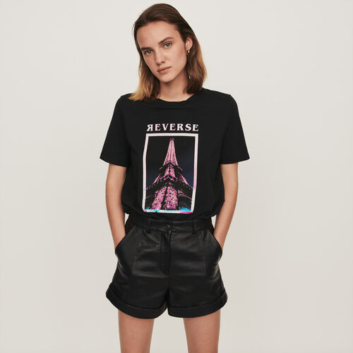 Camiseta decorada : Colección invierno color Negro
