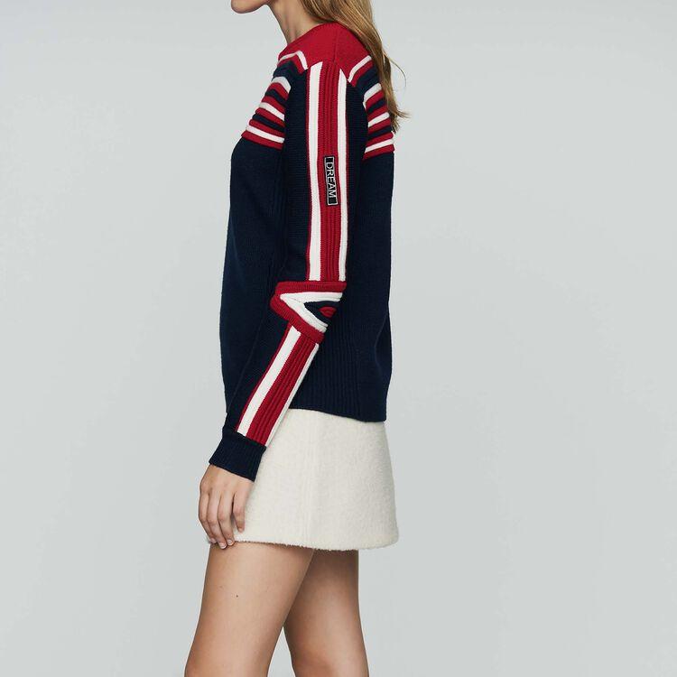 Jersey de punto fantasía tricolor : Malla color Azul Marino