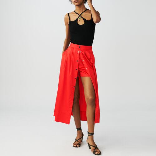Falda de largo medio con automáticos : Faldas y shorts color Rojo
