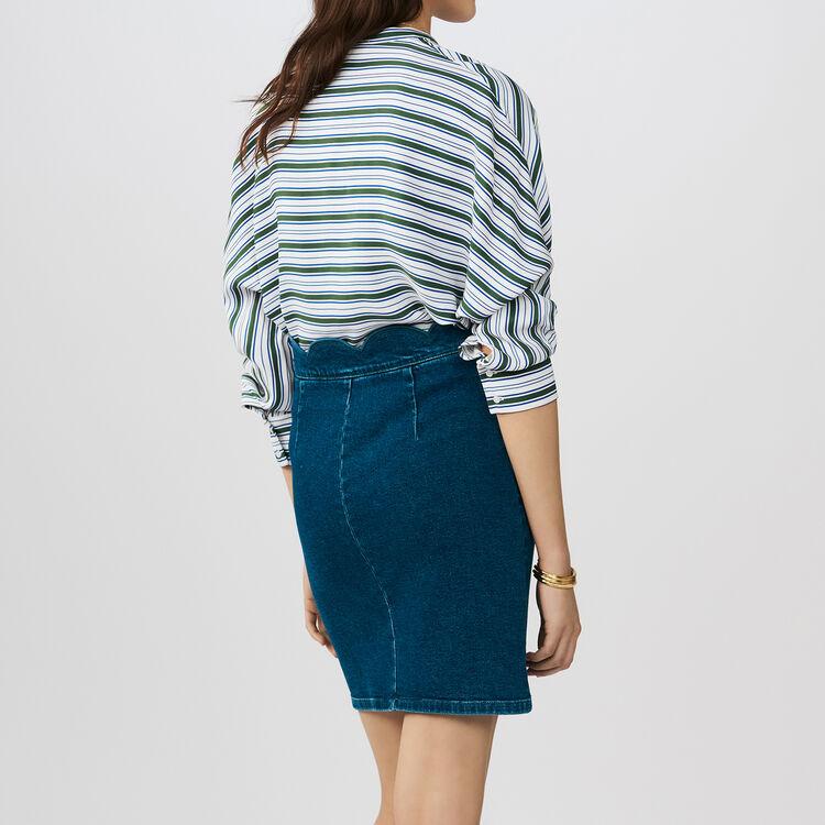 Falda denim con cortes fantasía : Faldas y shorts color Denim
