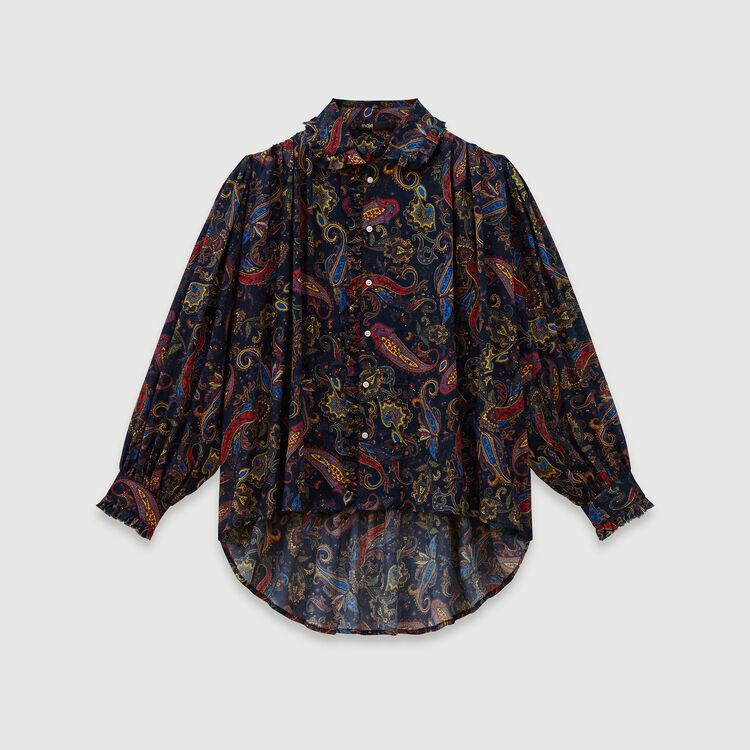 Blusa estampada de algodón : Tops y Camisas color Azul Marino