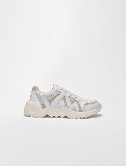 Zapatillas de piel con suela dentada : Sneakers color Rose dragée