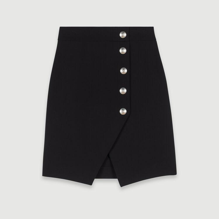 Falda asimétrica con botones : Faldas y shorts color Negro