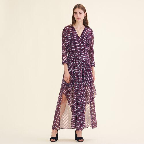 Vestido largo con estampado gráfico - Vestidos - MAJE