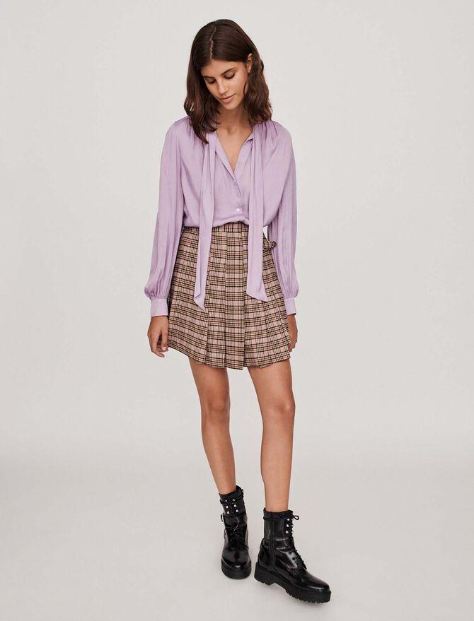 Blusa de raso con lavalliere - Camisas - MAJE