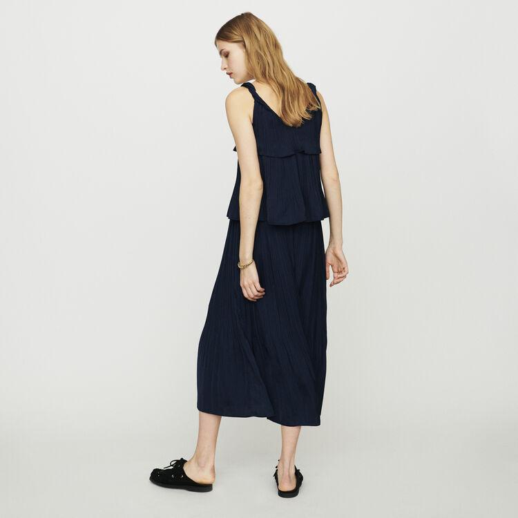 Vestido largo plisado con tela de raso : Vestidos color Azul Marino
