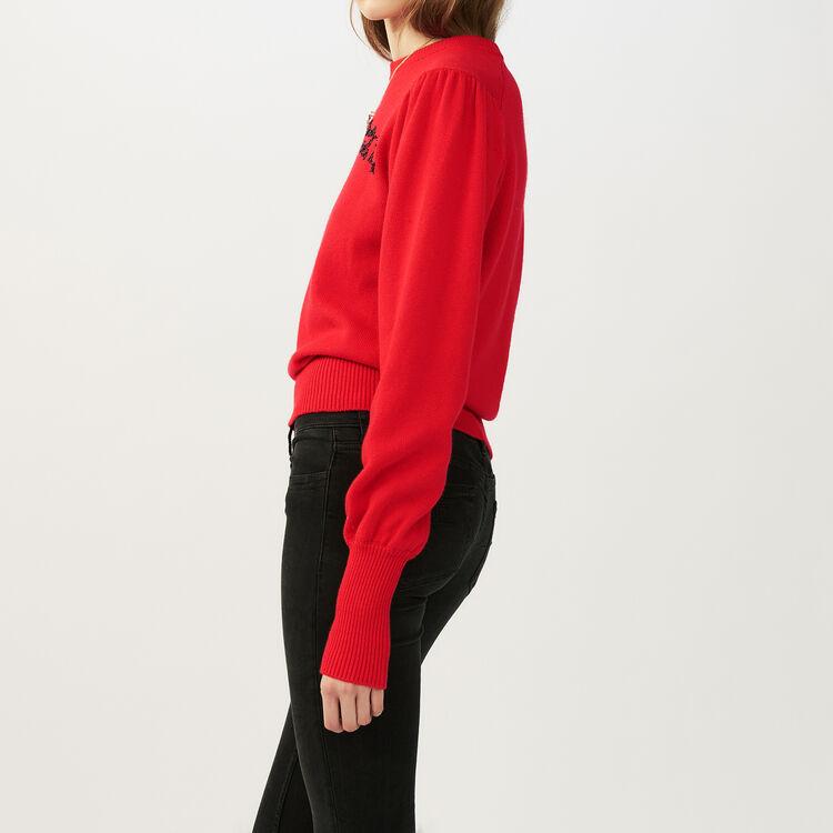 Jersey de punto con bordados : Malla color ROUGE